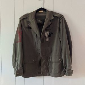 Vintage Painted French Military Jacket